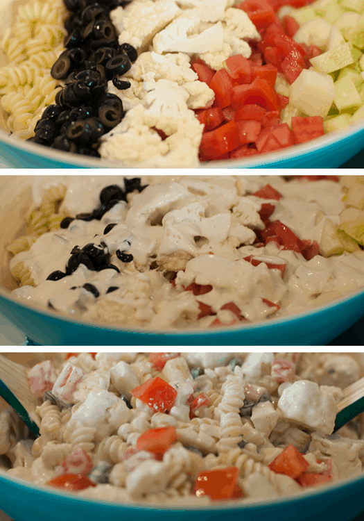 Cauliflower Ranch Summer Salad. Refreshing cauliflower ranch summer salad recipe. Great for bbqs and potlucks. Learn how to make this delicious side salad. #salad