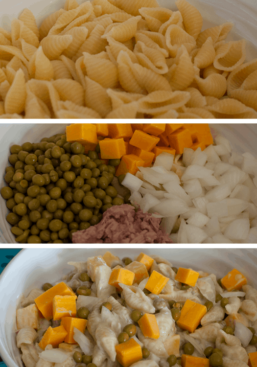 Simple Macaroni Salad Recipe. Ok - so it's not exactly macaroni salad, but even better -- it's made with shell pasta, tuna, cheddar cheese and peas. It is a