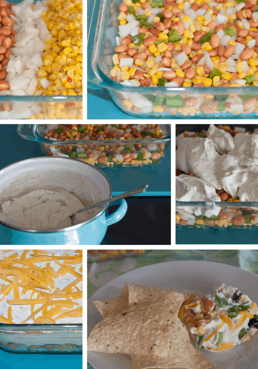 Quick and Easy Mexicorn Dip. Quick and easy mexicorn dip. Layer of mexicorn, onions, green peppers and pinto beans. Topped with ranch dip, cheddar cheese and olives. Recipe here. #dip