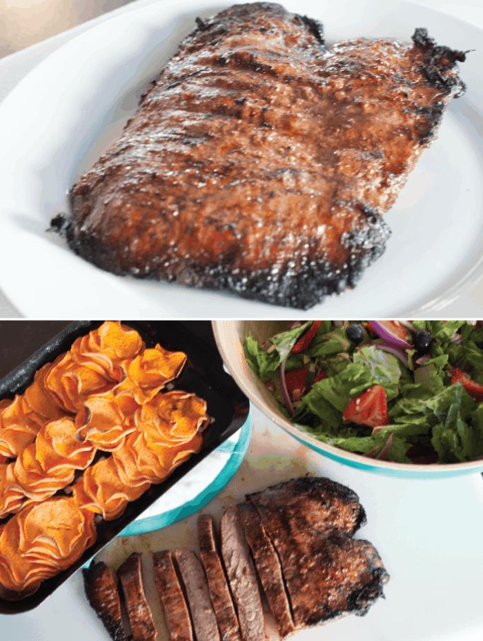 Flank Steak, Berry Poppyseed Salad & Sweet Potato Chips