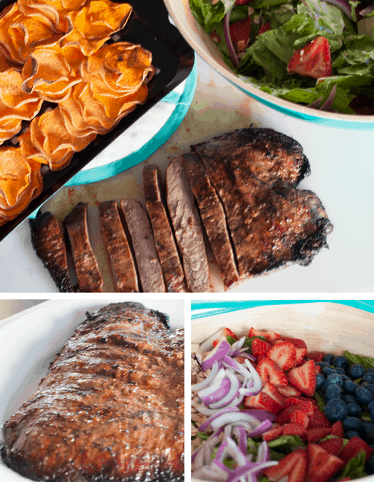 Flank Steak, Berry Poppyseed Salad & Sweet Potato Chips