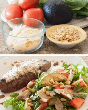 Gorgonzola Steak with Avocado Pine Nut Salad Pin