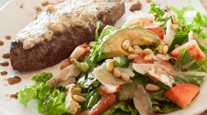 Gorgonzola Steak with Avocado Pine Nut Salad
