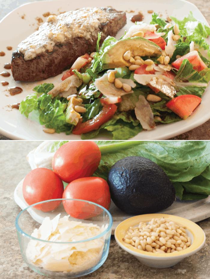 Gorgonzola Steak with Avocado Pine Nut Salad