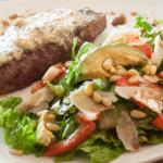 Gorgonzola steak and salad served