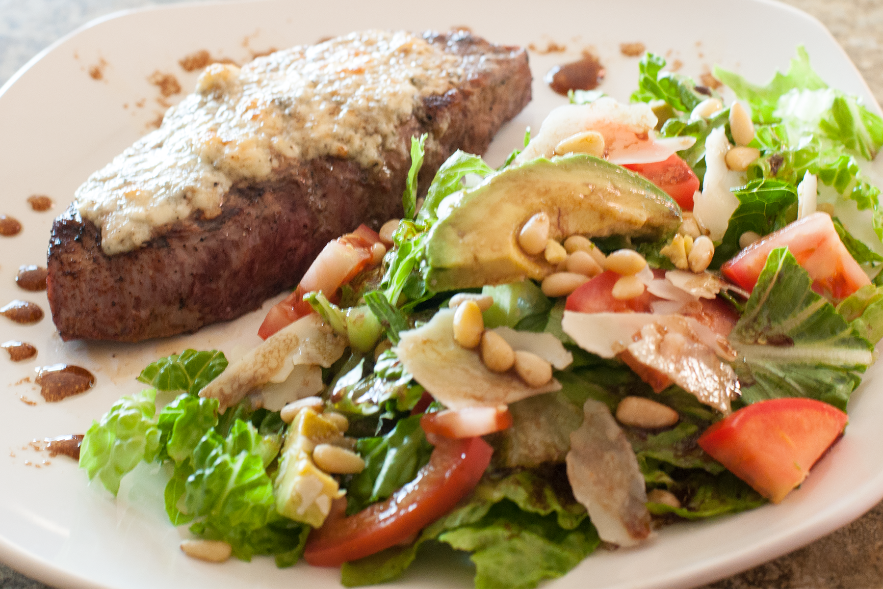 Gorgonzola steak and salad served