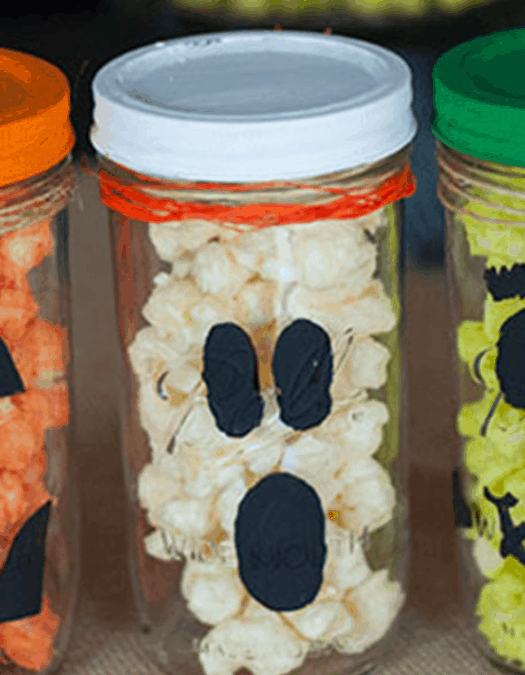 White Chocolate Popcorn Spooky Treat Jars