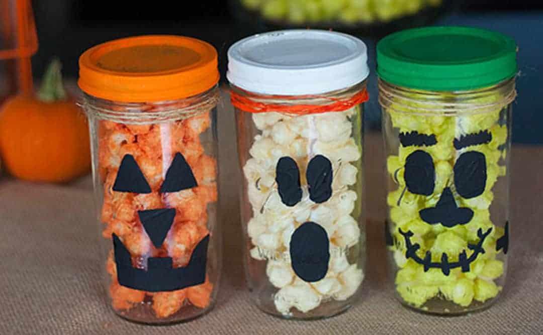 White Chocolate Popcorn Spooky Treat Jars
