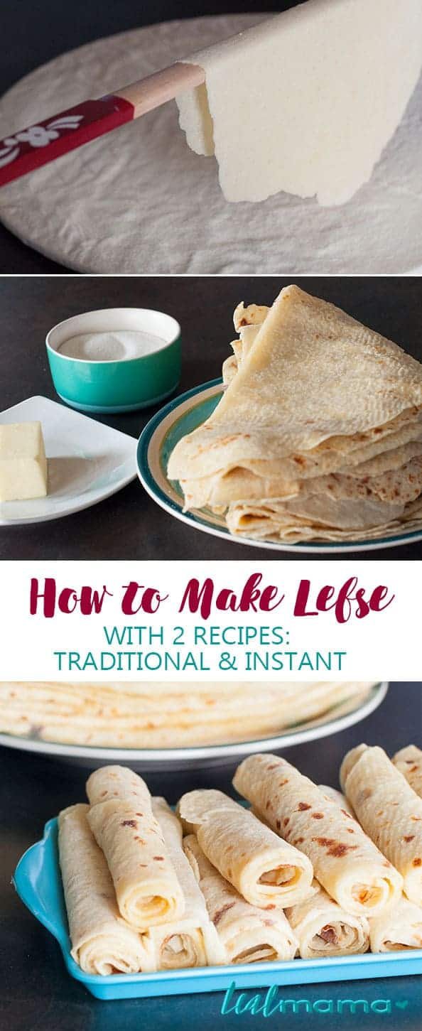 How to Make Lefse with 2 Recipes. Learn how to make lefse with two recipe options. Spread with butter and sugar, roll-up and enjoy! :) Continue this Norwegian tradition. #Norwegianrecipes
