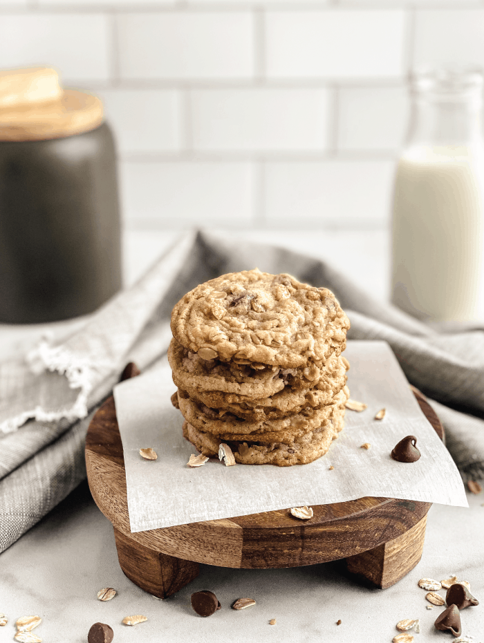 One-Cup-Chocolate-Chip-Cookies-Baked-Stacked-with-Milk