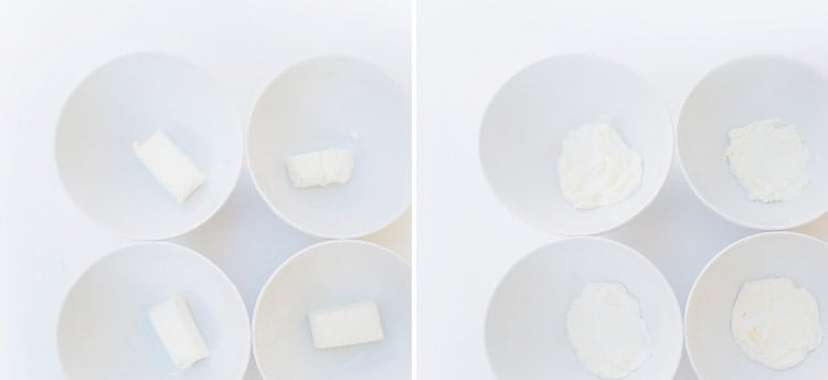 Cream cheese separated in 4 bowls