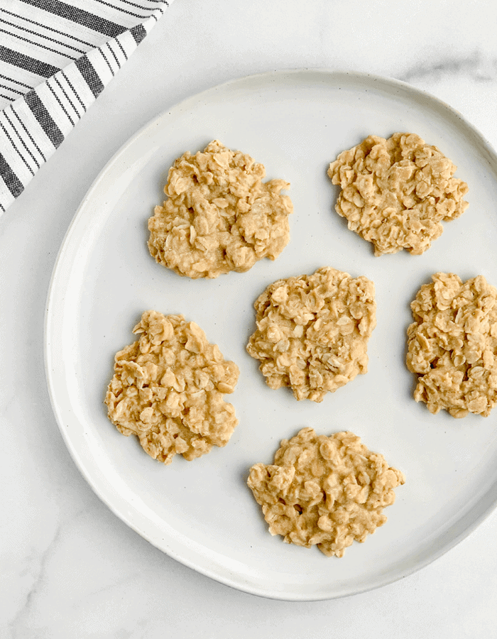 No Bake Peanut Butter Oatmeal Cookies on a Plate with Towel